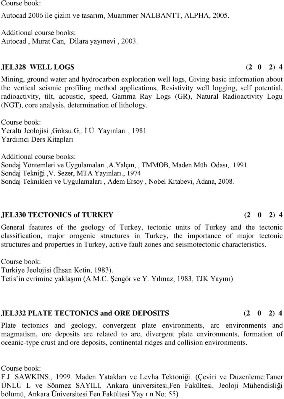 self potential, radioactivity, tilt, acoustic, speed, Gamma Ray Logs (GR), Natural Radioactivity Logu (NGT), core analysis, determination of lithology. Yeraltı Jeolojisi,Göksu.G,. İ Ü. Yayınları.