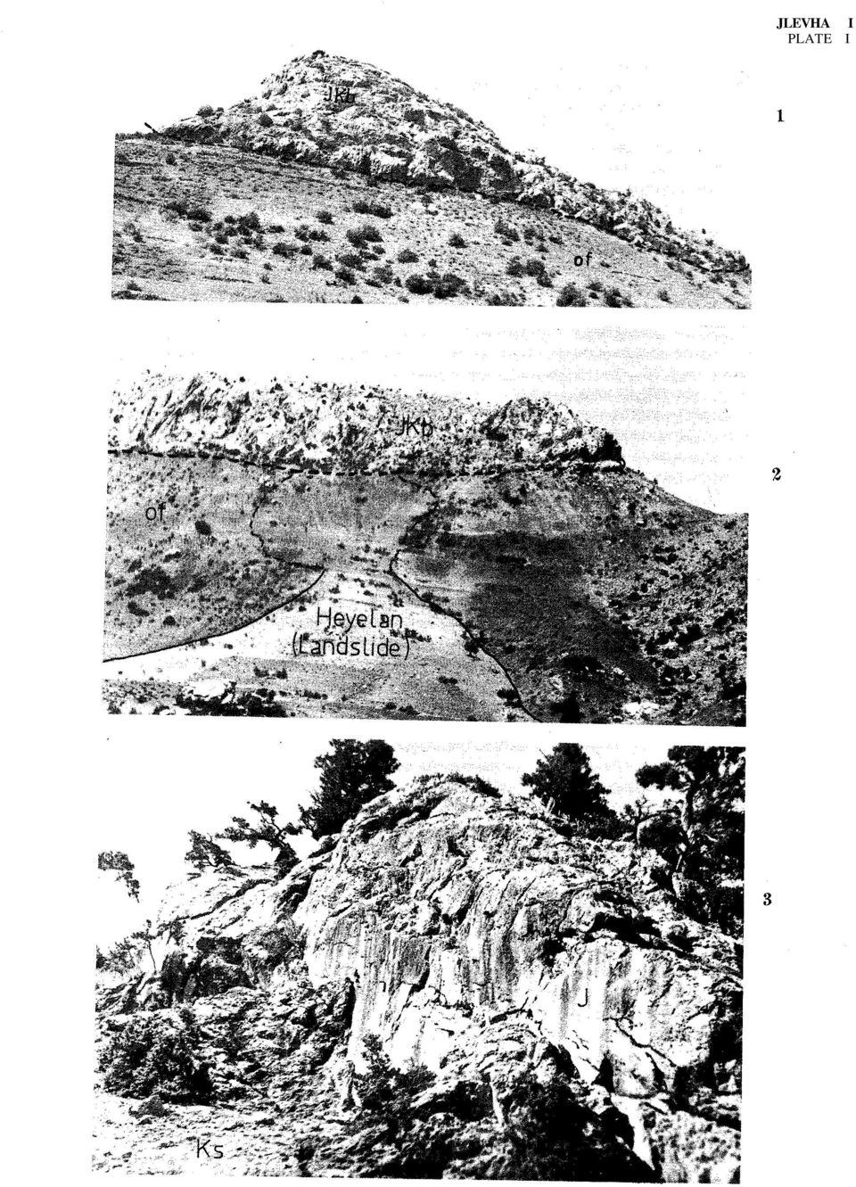 PLATE II Figure 1: View of sliding traces on an olistolith (JKb) in the Pınarcık Çeşmesi Olisthostrome (Kp) (Çukıırbag