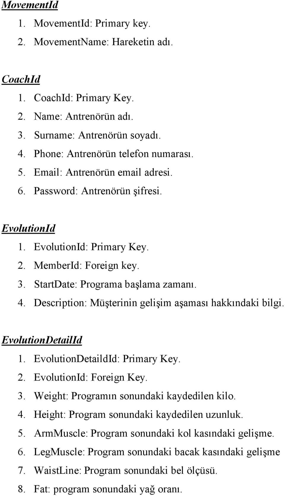 Description: Müşterinin gelişim aşaması hakkındaki bilgi. EvolutionDetailId 1. EvolutionDetaildId: Primary Key. 2. EvolutionId: Foreign Key. 3. Weight: Programın sonundaki kaydedilen kilo. 4.