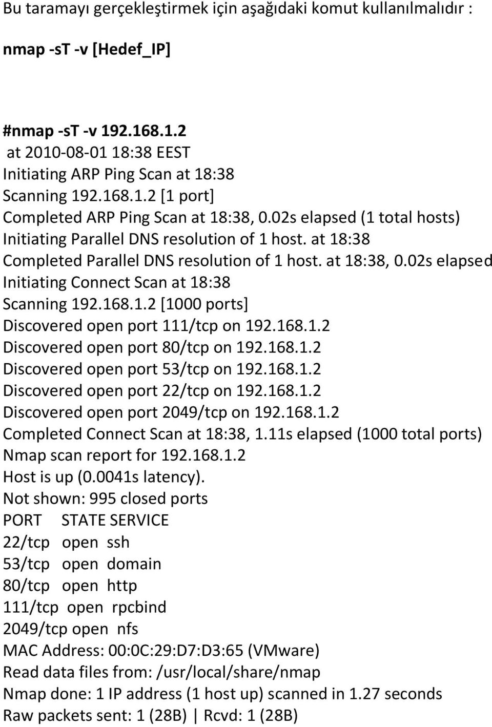 168.1.2 [1000 ports] Discovered open port 111/tcp on 192.168.1.2 Discovered open port 80/tcp on 192.168.1.2 Discovered open port 53/tcp on 192.168.1.2 Discovered open port 22/tcp on 192.168.1.2 Discovered open port 2049/tcp on 192.