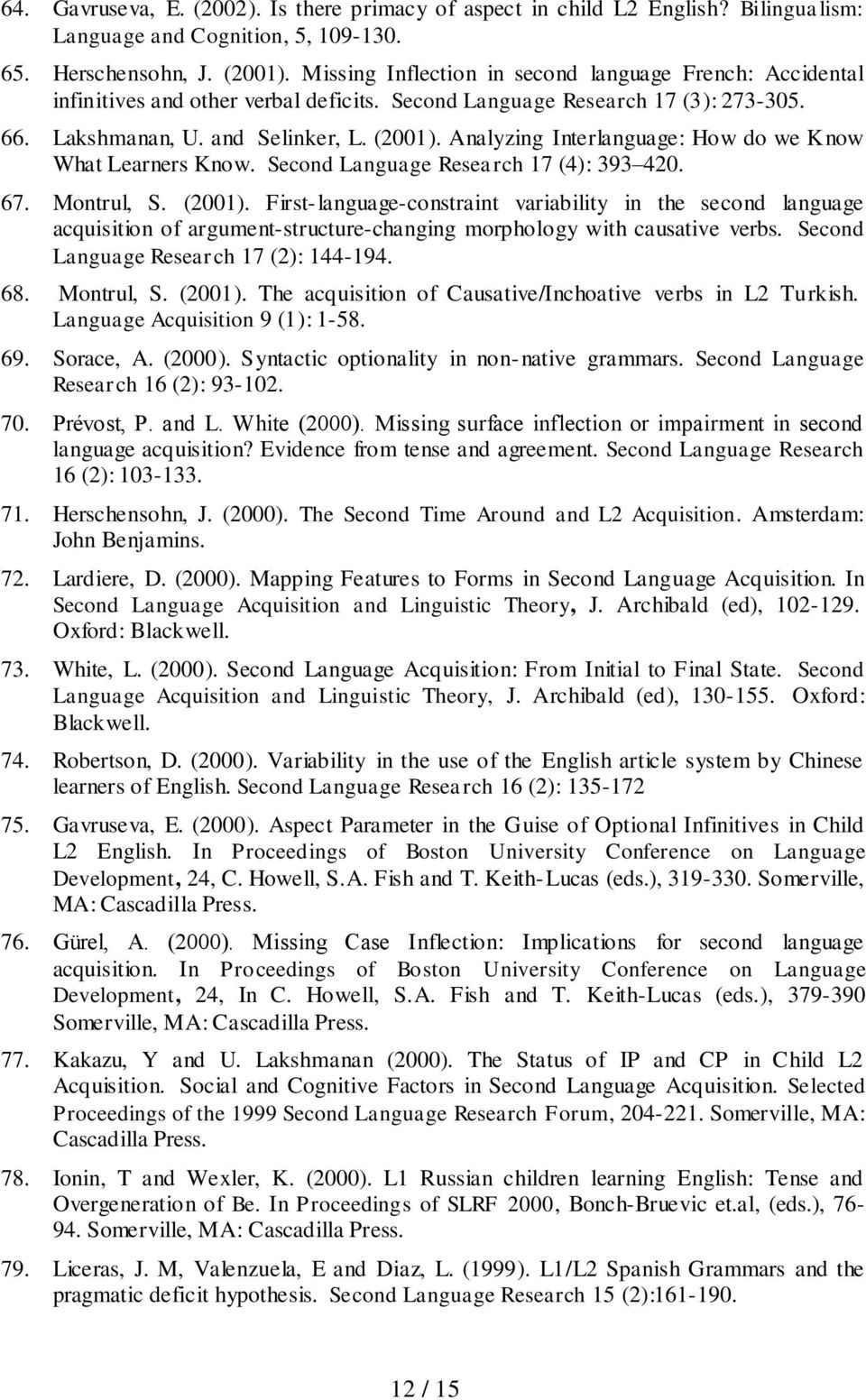 Analyzing Interlanguage: How do we Know What Learners Know. Second Language Research 17 (4): 393 420. 67. Montrul, S. (2001).