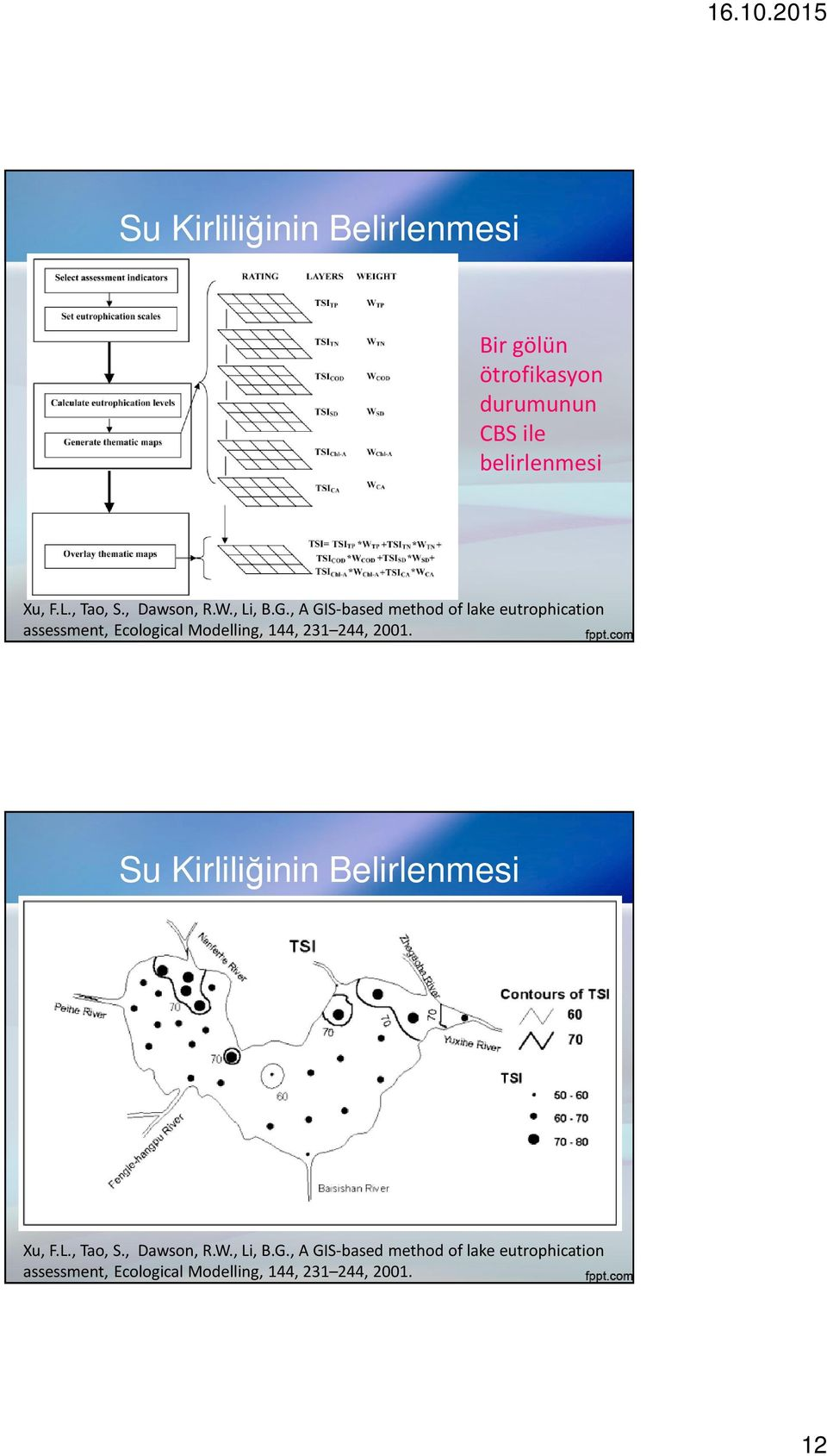 , A GIS-based method of lake eutrophication assessment, Ecological Modelling, 144, 231 244, 2001.
