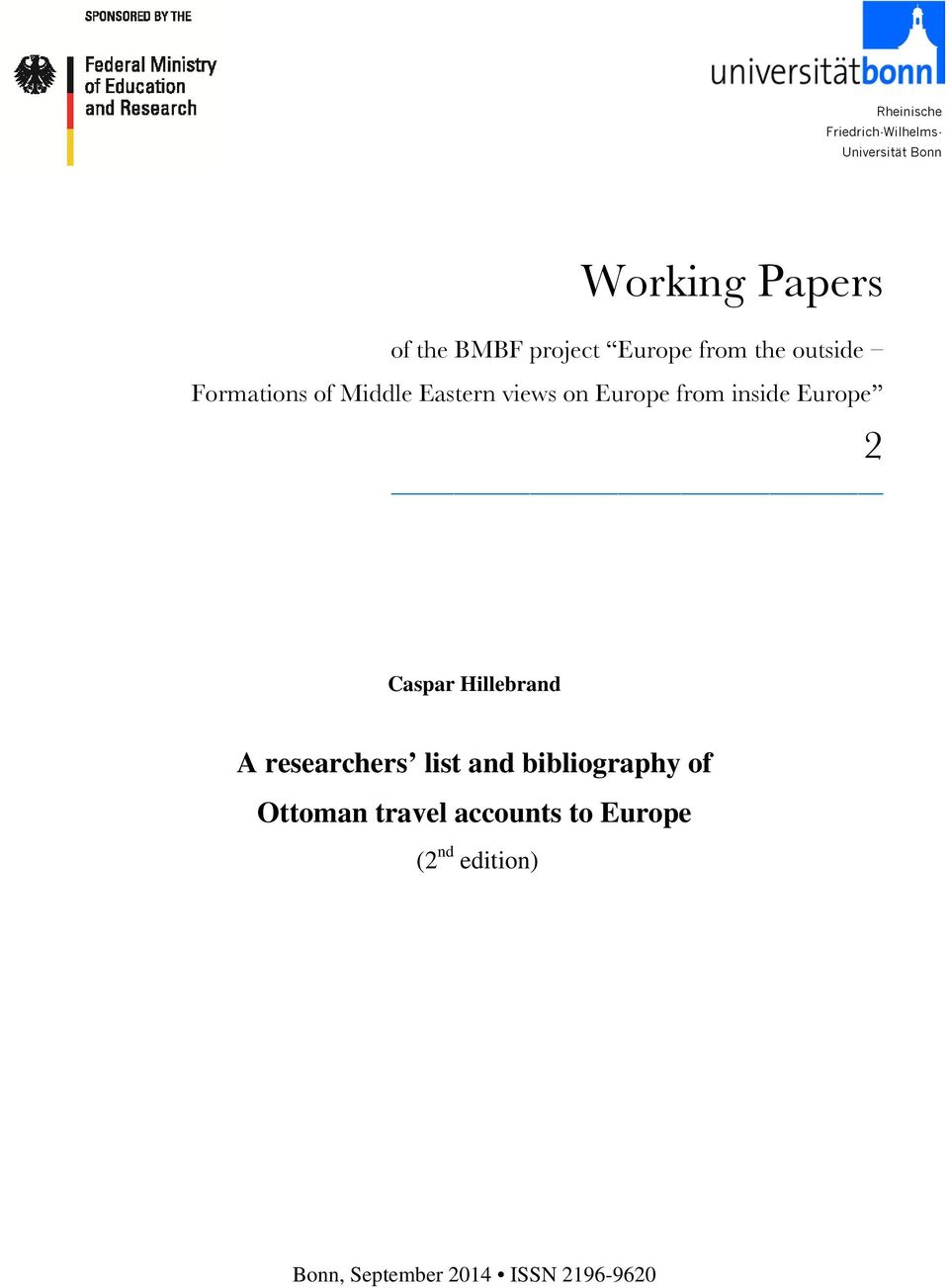 from inside Europe 2 Caspar Hillebrand A researchers list and bibliography of