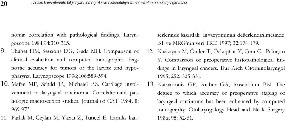 Mafee MF, Schild JA, Michaiel AS. Cartilage involvenment in laryngeal carcinoma. Correlationand pathologic macrosection studies. Journal of CAT 1984; 8: 969-973. 11.