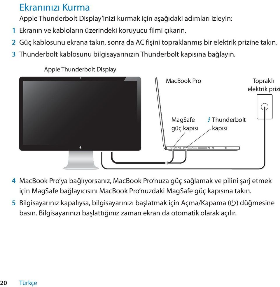 Apple Thunderbolt Display MacBook Pro Topraklı elektrik prizi MagSafe güç kapısı Thunderbolt kapısı 4 MacBook Pro ya bağlıyorsanız, MacBook Pro nuza güç sağlamak ve pilini şarj etmek