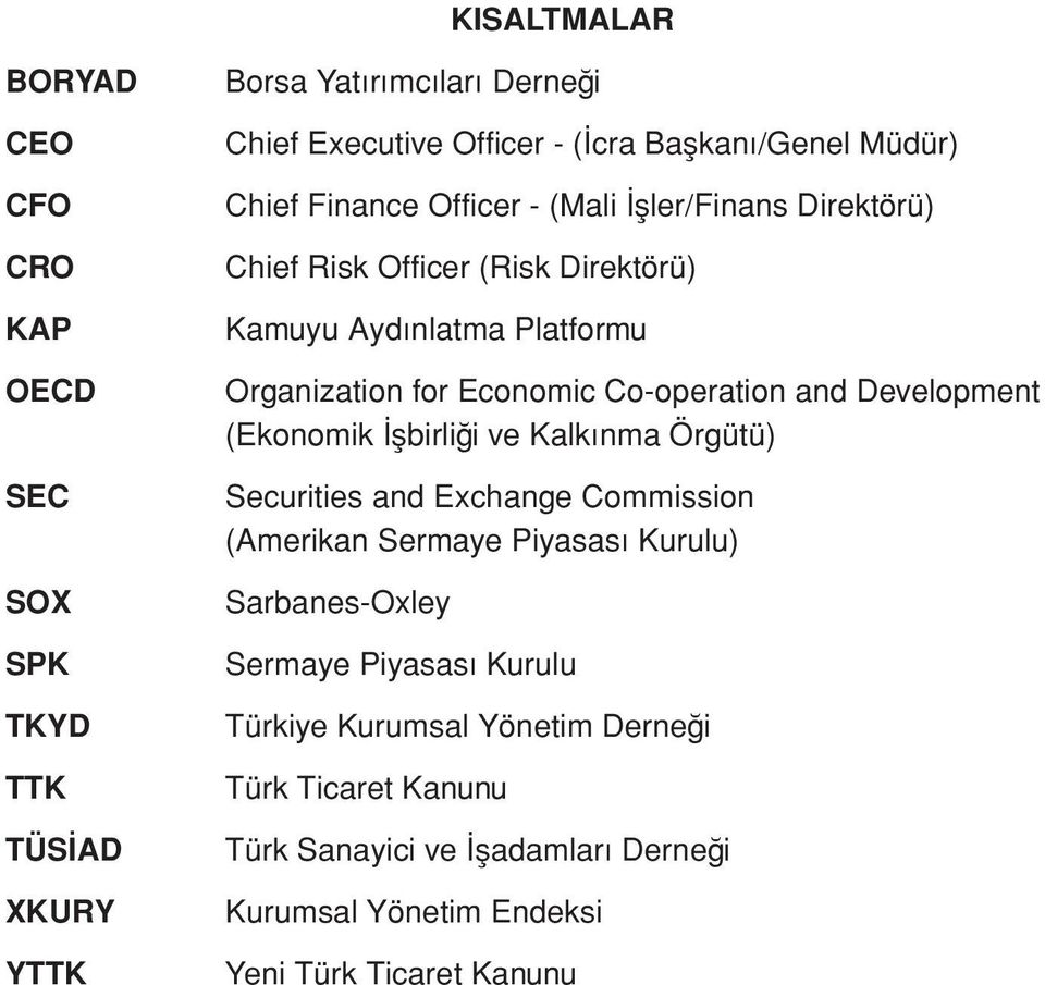 Co-operation and Development (Ekonomik İşbirliği ve Kalkınma Örgütü) Securities and Exchange Commission (Amerikan Sermaye Piyasası Kurulu) Sarbanes-Oxley