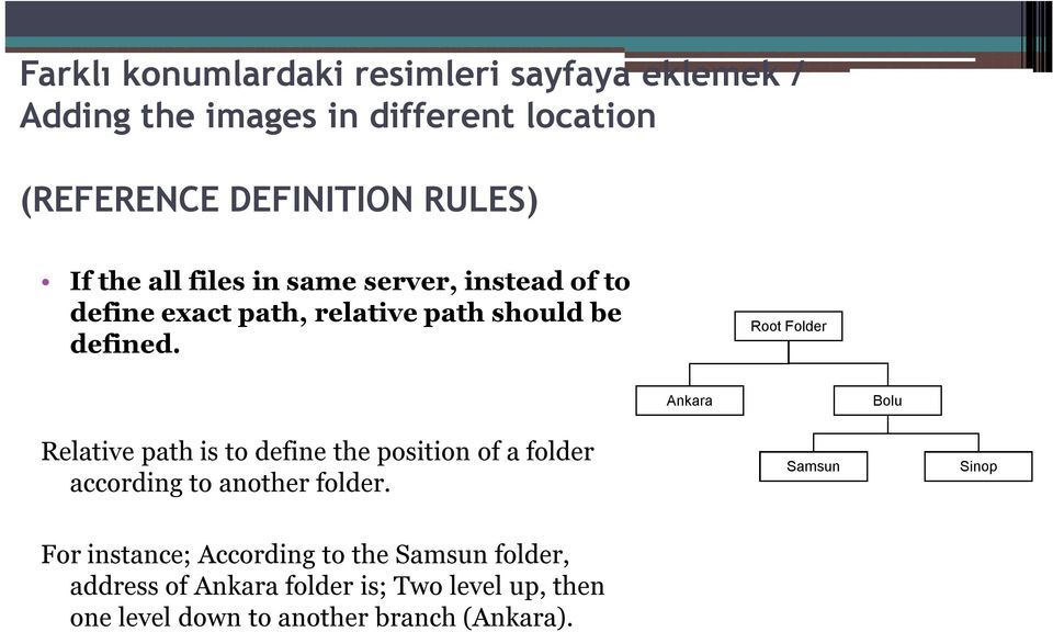 Root Folder Ankara Bolu Relative path is to define the position of a folder according to another folder.