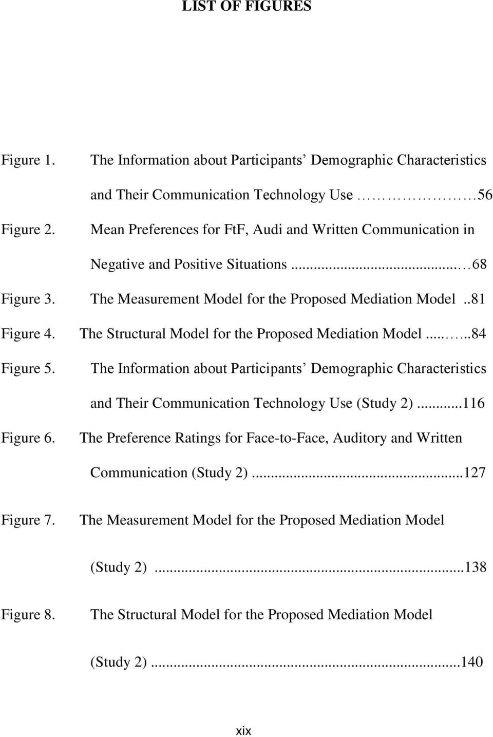 The Structural Model for the Proposed Mediation Model......84 The Information about Participants Demographic Characteristics and Their Communication Technology Use (Study 2)...116 Figure 6.