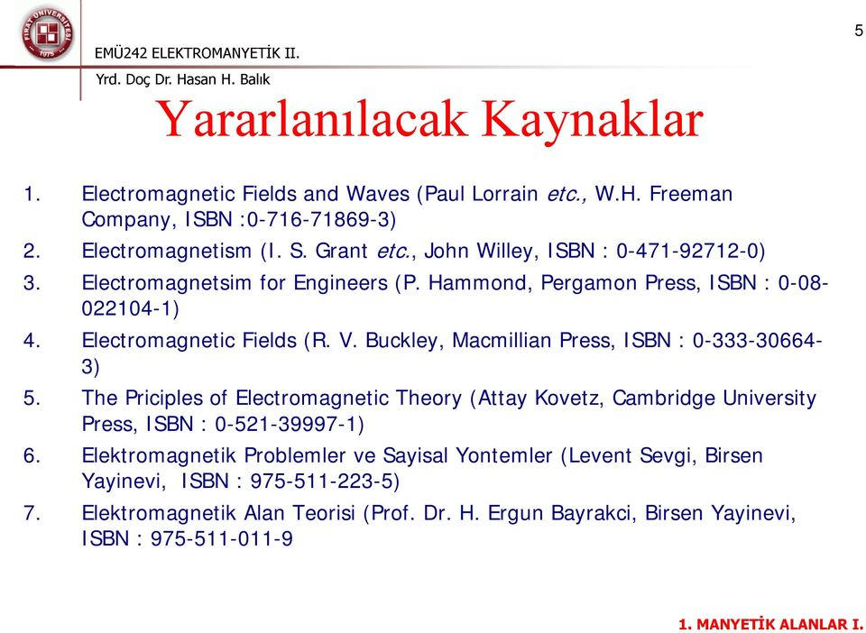 Buckley, Macmillian Press, ISBN : 0-333-30664-3) 5. The Priciples of Electromagnetic Theory (Attay Kovetz, Cambridge University Press, ISBN : 0-521-39997-1) 6.
