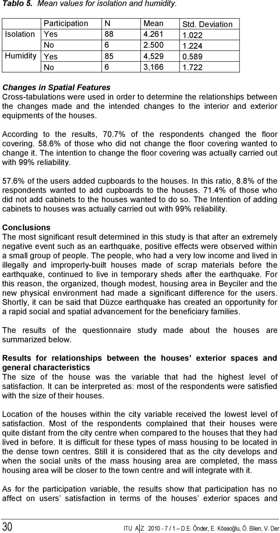 houses. According to the results, 70.7% of the respondents changed the floor covering. 58.6% of those who did not change the floor covering wanted to change it.