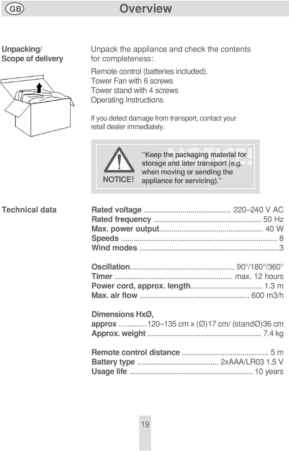 Keep the packaging material for storage NOTICE! and later transport (e.g. when moving or sending the appliance for servicing). Technical data Rated voltage... 220 240 V AC Rated frequency... 50 Hz Max.