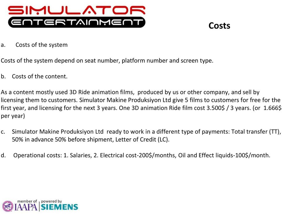 Simulator Makine Produksiyon Ltd give 5 films to customers for free for the first year, and licensing for the next 3 years. One 3D animation Ride film cost 3.500$ / 3 years.