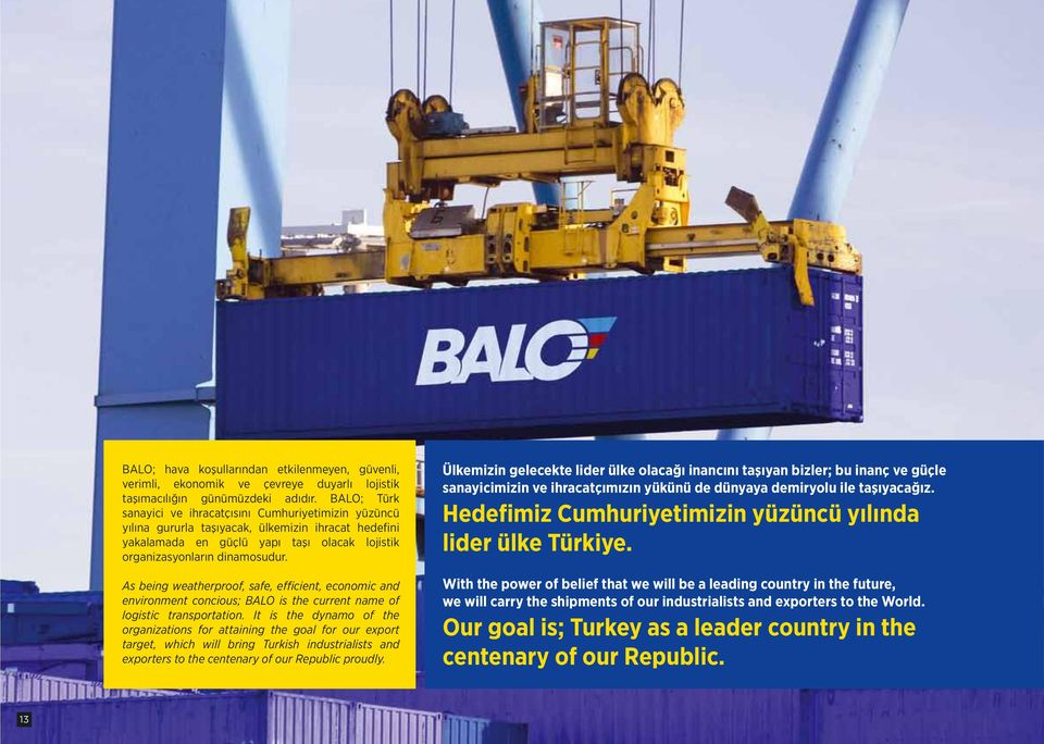 As being weatherproof, safe, efficient, economic and environment concious; BALO is the current name of logistic transportation.
