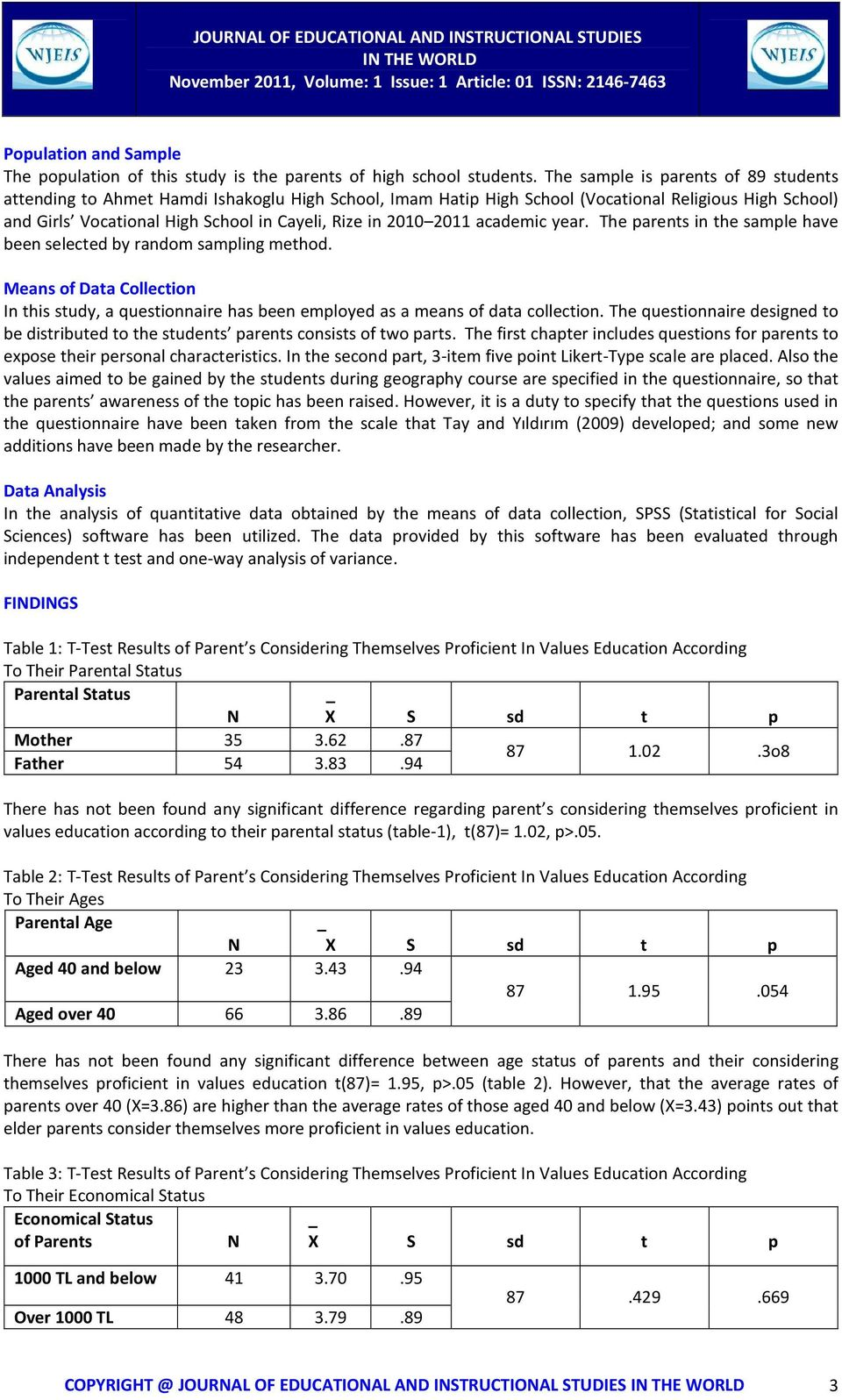 2011 academic year. The parents in the sample have been selected by random sampling method. Means of Data Collection In this study, a questionnaire has been employed as a means of data collection.
