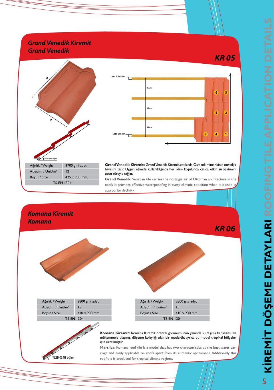 It provides effective waterproofing in every climatic condition when it is used in approprite declivity. Komana Kiremit Komana 2800 gr. / adet 410 x 230 mm.