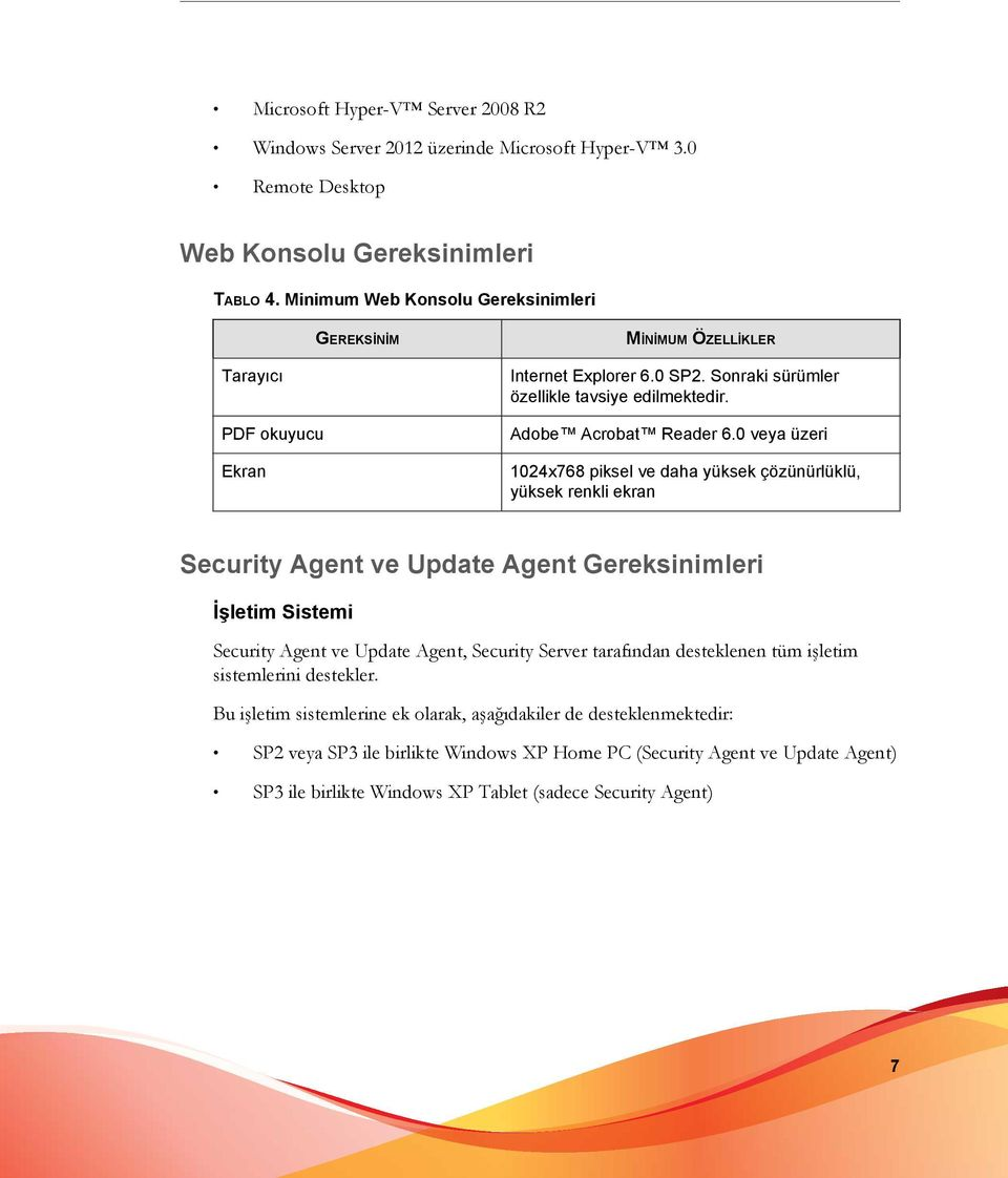 0 veya üzeri 1024x768 piksel ve daha yüksek çözünürlüklü, yüksek renkli ekran Security Agent ve Update Agent Gereksinimleri İşletim Sistemi Security Agent ve Update Agent, Security Server