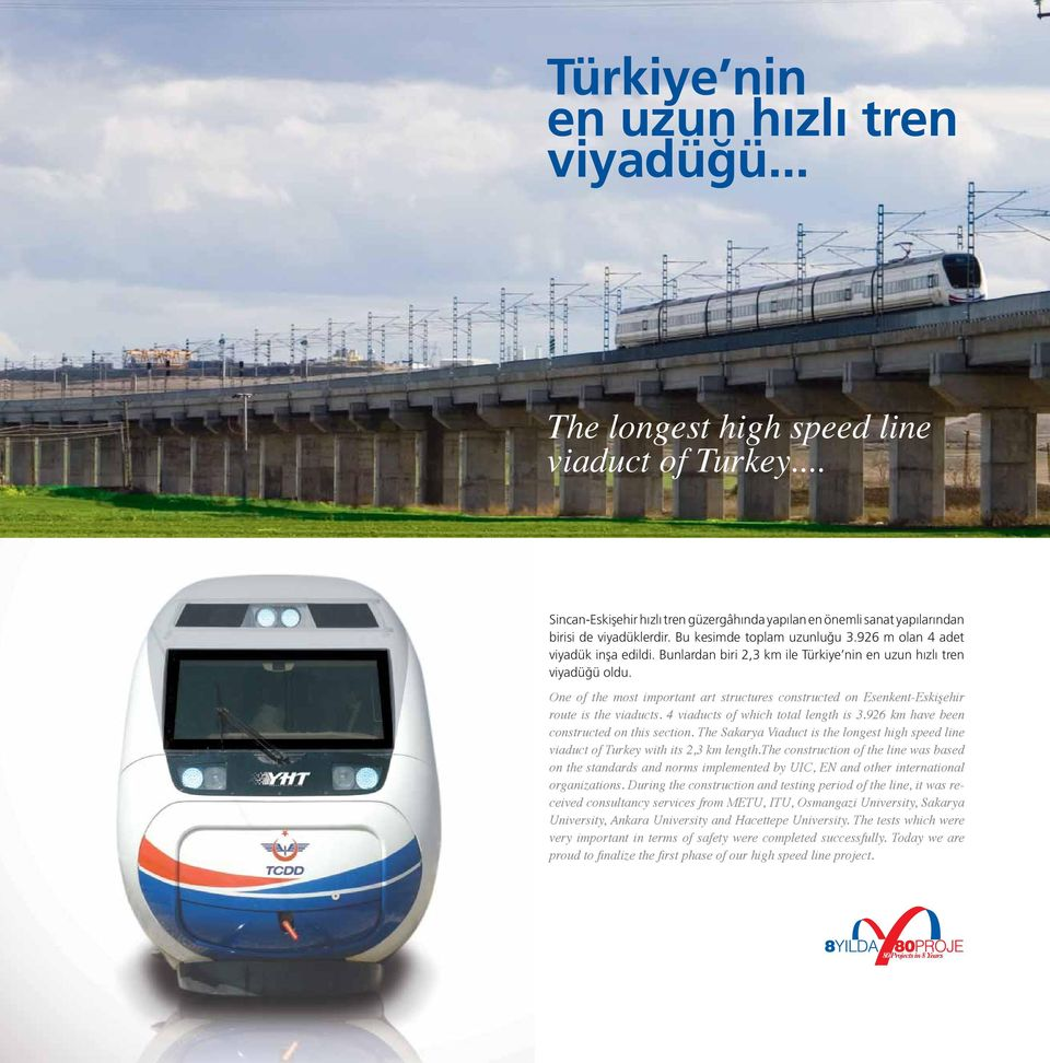 One of the most important art structures constructed on Esenkent-Eskişehir route is the viaducts. 4 viaducts of which total length is 3.926 km have been constructed on this section.