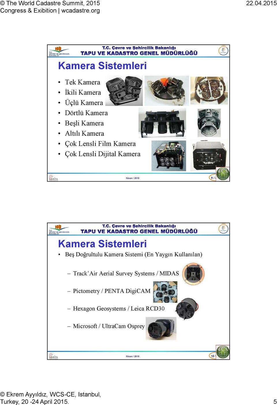 Kamera Sistemi (En Yaygın Kullanılan) Track Air Aerial Survey Systems / MIDAS Pictometry / PENTA
