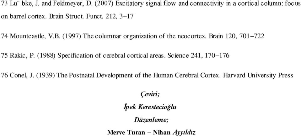 212, 3 17 74 Mountcastle, V.B. (1997) The columnar organization of the neocortex. Brain 120, 701 722 75 Rakic, P.