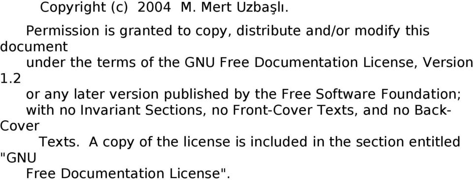 Free Documentation License, Version 1.