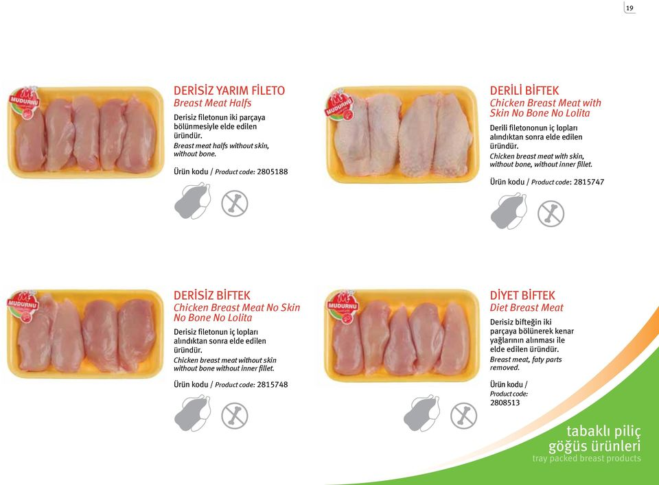 Chicken breast meat with skin, without bone, without inner fillet.