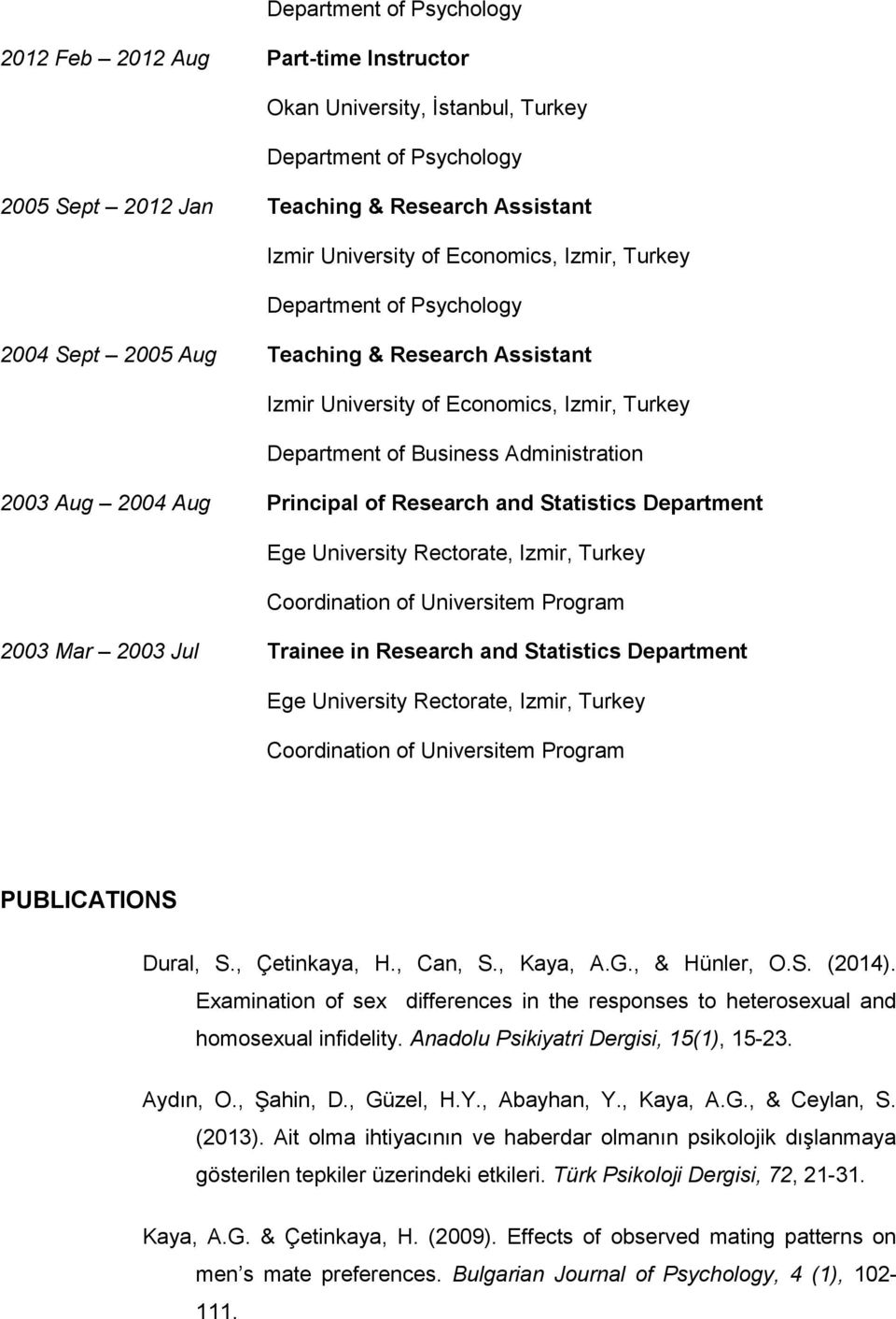 Izmir, Turkey 2003 Mar 2003 Jul Trainee in Research and Statistics Department Ege University Rectorate, Izmir, Turkey PUBLICATIONS Dural, S., Çetinkaya, H., Can, S., Kaya, A.G., & Hünler, O.S. (2014).