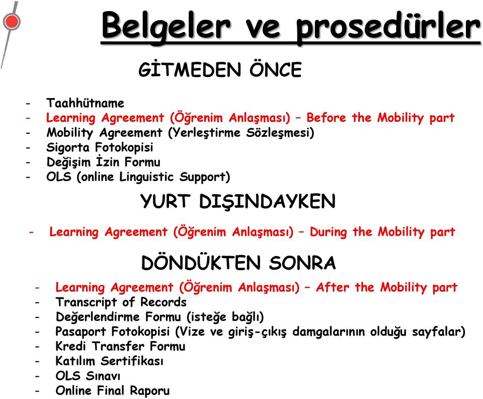 the Mobility part DÖNDÜKTEN SONRA - Learning Agreement (Öğrenim Anlaşması) After the Mobility part - Transcript of Records - Değerlendirme Formu (isteğe