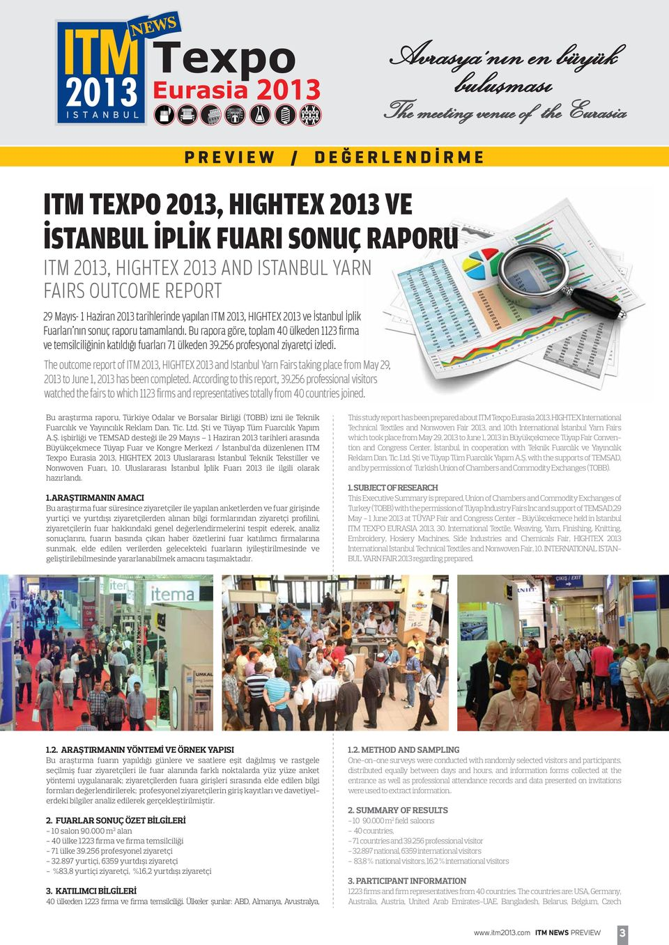 The outcome report of ITM 2013, HIGHTEX 2013 and Istanbul Yarn Fairs taking place from May 29, 2013 to June 1, 2013 has been completed. According to this report, 39.