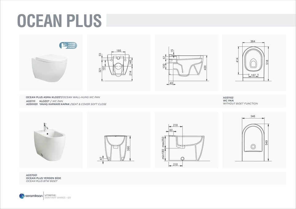 /SEAT & COVER SOFT CLOSE A031102 WC PAN WITHOUT BIDET FUNCTION 346 218 60 47 390