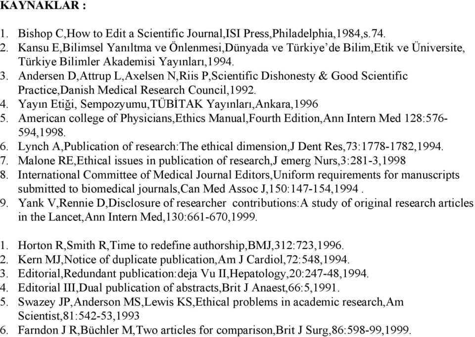 Andersen D,Attrup L,Axelsen N,Riis P,Scientific Dishonesty & Good Scientific Practice,Danish Medical Research Council,1992. 4. Yayın Etiği, Sempozyumu,TÜBİTAK Yayınları,Ankara,1996 5.