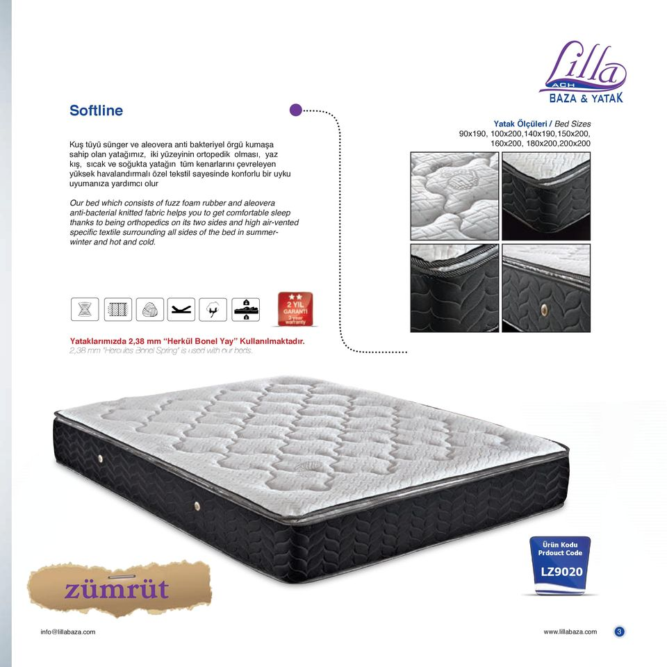 fuzz foam rubber and aleovera anti-bacterial knitted fabric helps you to get comfortable sleep thanks to being orthopedics on its two sides and high air-vented specific textile surrounding