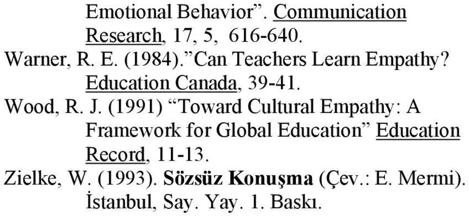 (1991) Toward Cultural Empathy: A Framework for Global Education Education