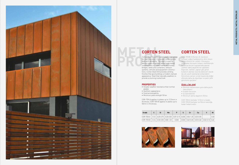 Corten Steel (CS) provides striking finishes that give buildings a modern stylised appearance. Steel that naturally weathers to provide a stunning rusted look.