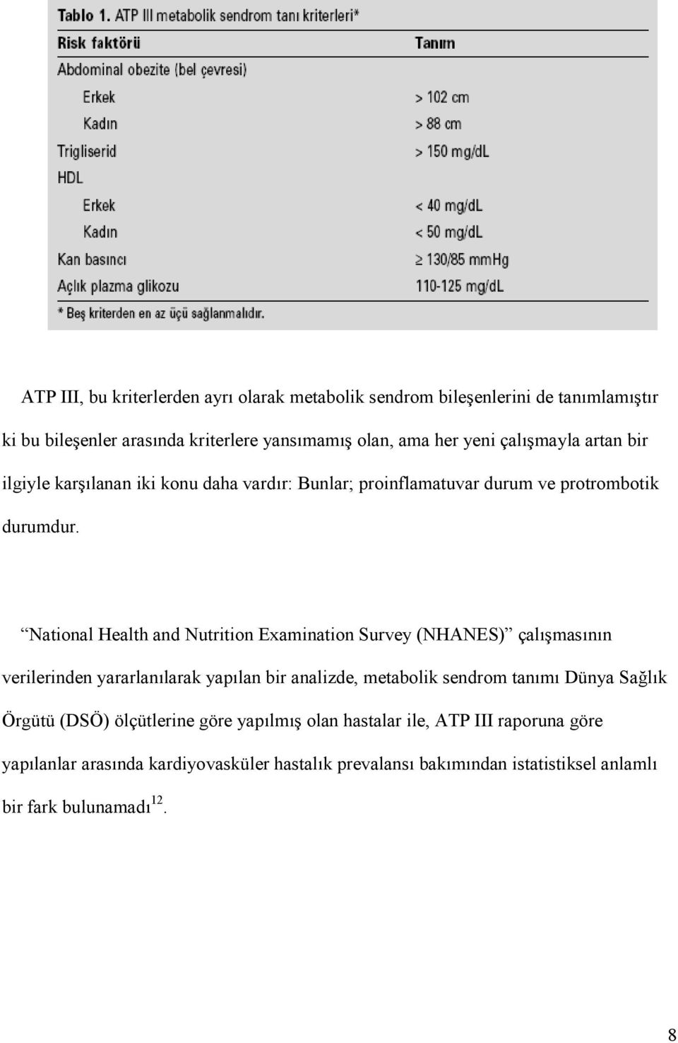National Health and Nutrition Examination Survey (NHANES) çal mas n n verilerinden yararlan larak yap lan bir analizde, metabolik sendrom tan m Dünya