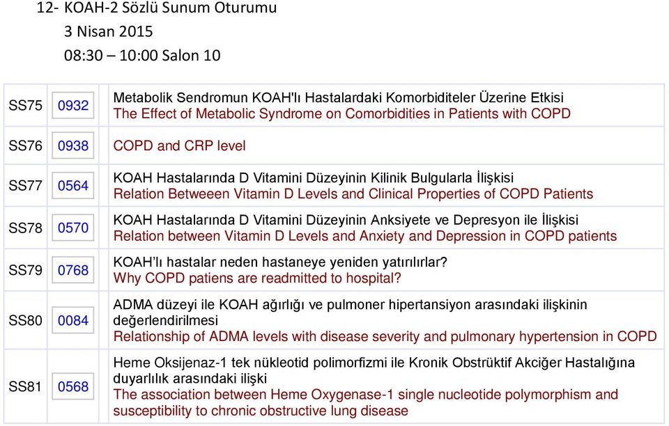 and Clinical Properties of COPD Patients KOAH Hastalarında D Vitamini Düzeyinin Anksiyete ve Depresyon ile İlişkisi Relation between Vitamin D Levels and Anxiety and Depression in COPD patients KOAH