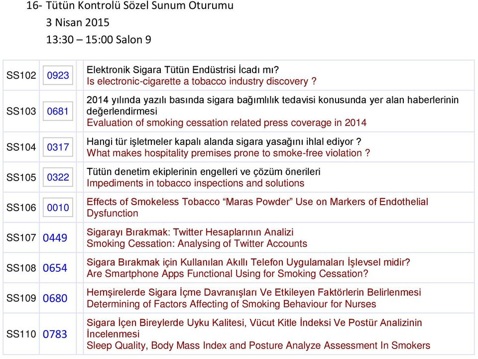 2014 yılında yazılı basında sigara bağımlılık tedavisi konusunda yer alan haberlerinin değerlendirmesi Evaluation of smoking cessation related press coverage in 2014 Hangi tür işletmeler kapalı