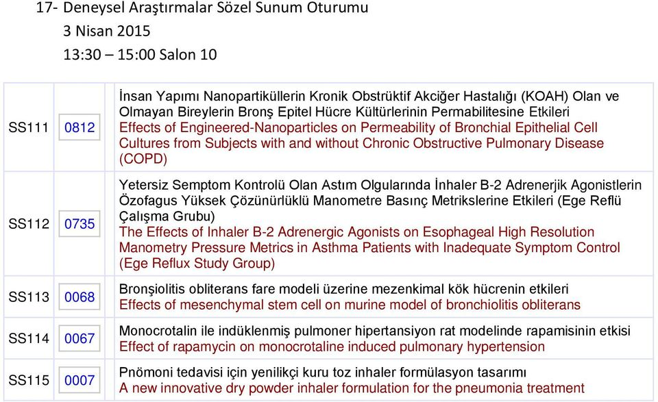 Subjects with and without Chronic Obstructive Pulmonary Disease (COPD) Yetersiz Semptom Kontrolü Olan Astım Olgularında İnhaler Β-2 Adrenerjik Agonistlerin Özofagus Yüksek Çözünürlüklü Manometre