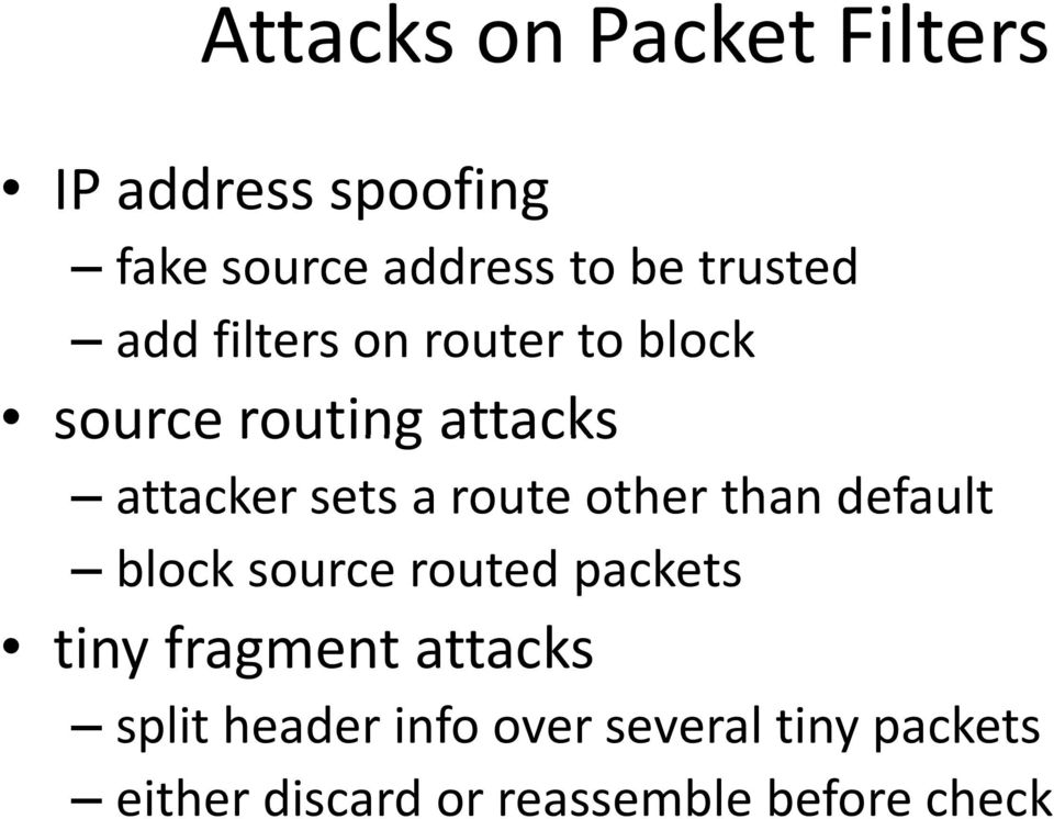 route other than default block source routed packets tiny fragment attacks