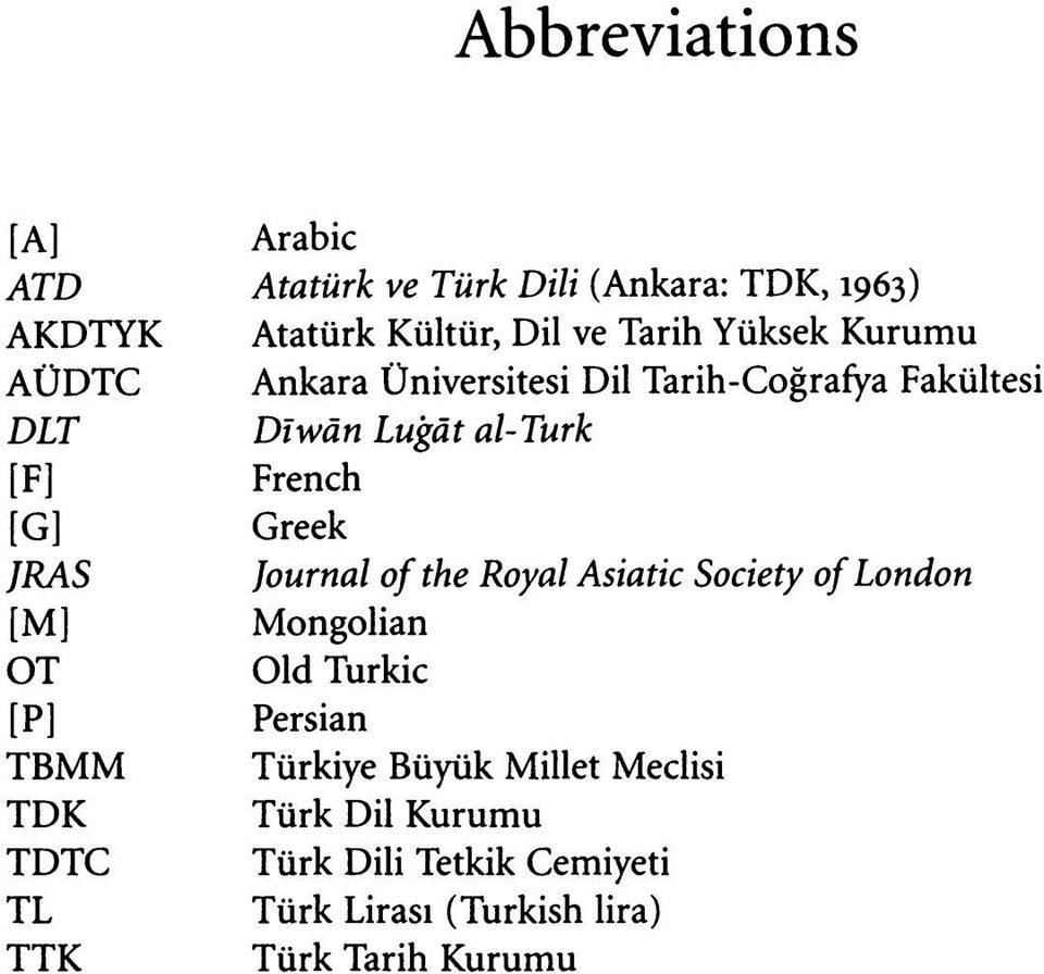 Greek JRAS Journal of the Royal Asiatic Society of London [M] Mongolian OT Old Turkic [P] Persian TBMM Türkiye