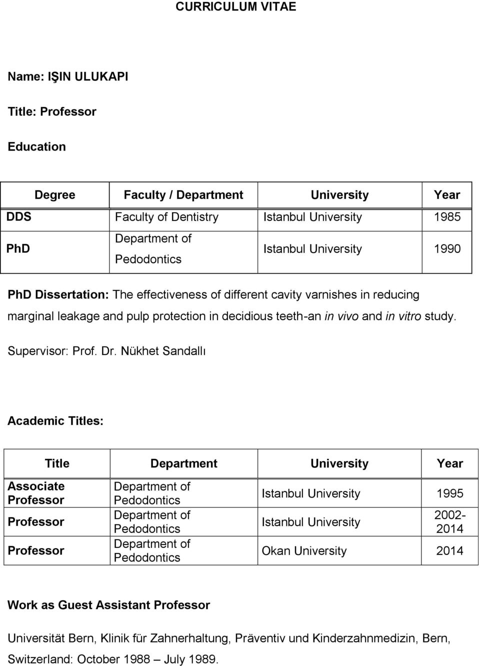 Dr. Nükhet Sandallı Academic Titles: Title Department University Year Associate Professor Professor Professor Department of Pedodontics Department of Pedodontics Department of Pedodontics Istanbul