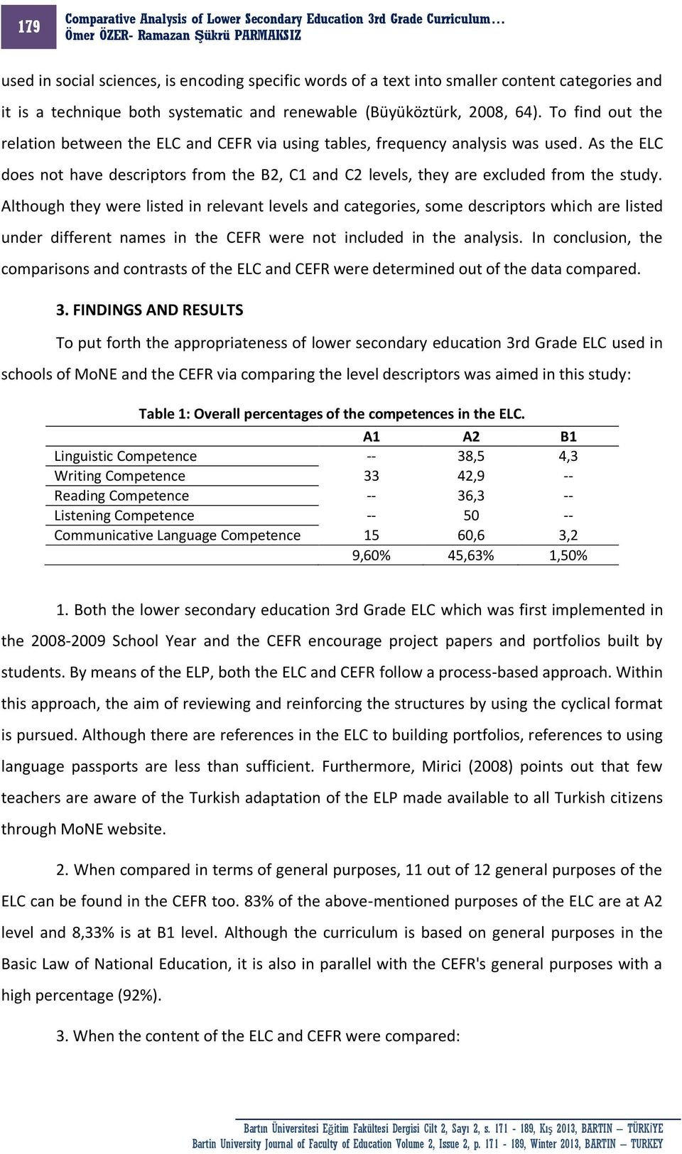Although they were listed in relevant levels and categories, some descriptors which are listed under different names in the CEFR were not included in the analysis.