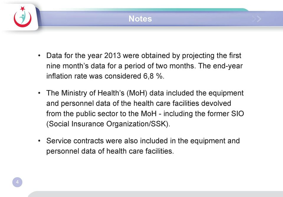 The Ministry of Health s (MoH) data included the equipment and personnel data of the health care facilities devolved