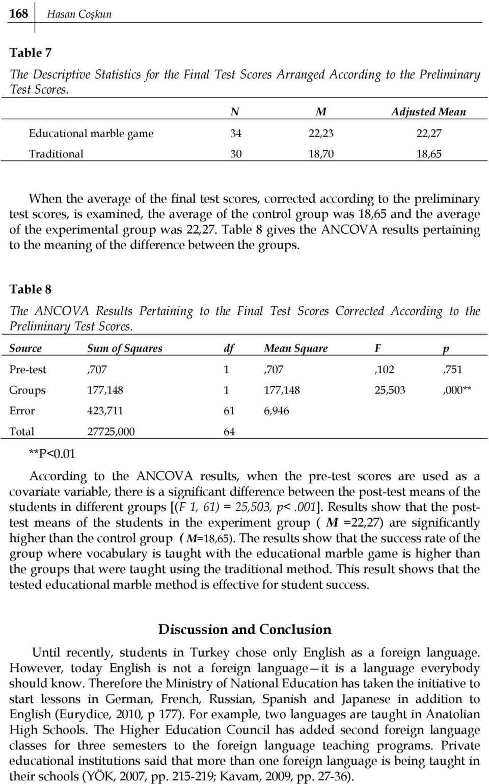 average of the control group was 18,65 and the average of the experimental group was 22,27. Table 8 gives the ANCOVA results pertaining to the meaning of the difference between the groups.