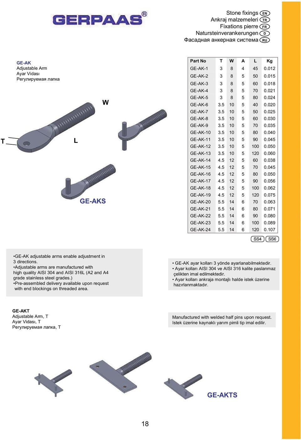 GE-K adjustable arms enable adjustment in directions. djustable arms are manufactured with high quality ISI 0 and ISI 1 ( and grade stainless steel grades.