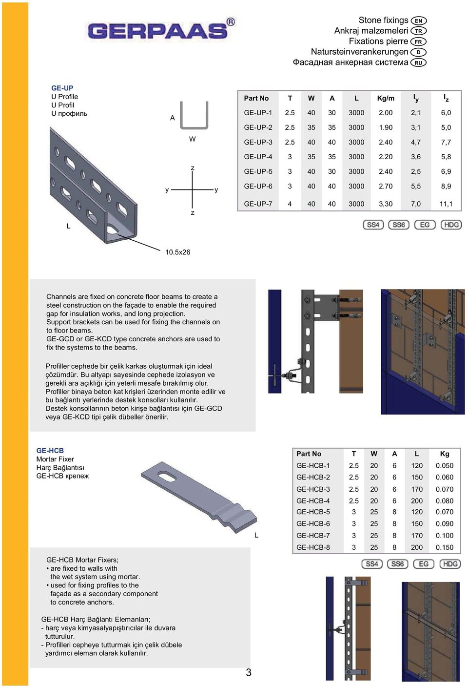 Support brackets can be used for fixing the channels on to floor beams. GE-GC or GE-KC type concrete anchors are used to fix the systems to the beams.