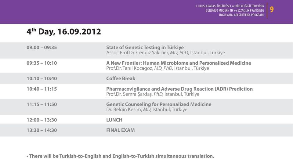 Tanıl Kocagöz, MD, PhD, İstanbul, Türkiye 10:10 10:40 Coffee Break 10:40 11:15 Pharmacovigilance and Adverse Dru