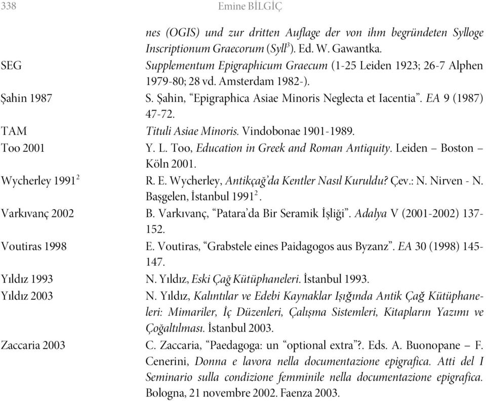 TAM Tituli Asiae Minoris. Vindobonae 1901-1989. Too 2001 Y. L. Too, Education in Greek and Roman Antiquity. Leiden Boston Köln 2001. Wycherley 1991 2 R. E. Wycherley, Antikçağ da Kentler Nasıl Kuruldu?