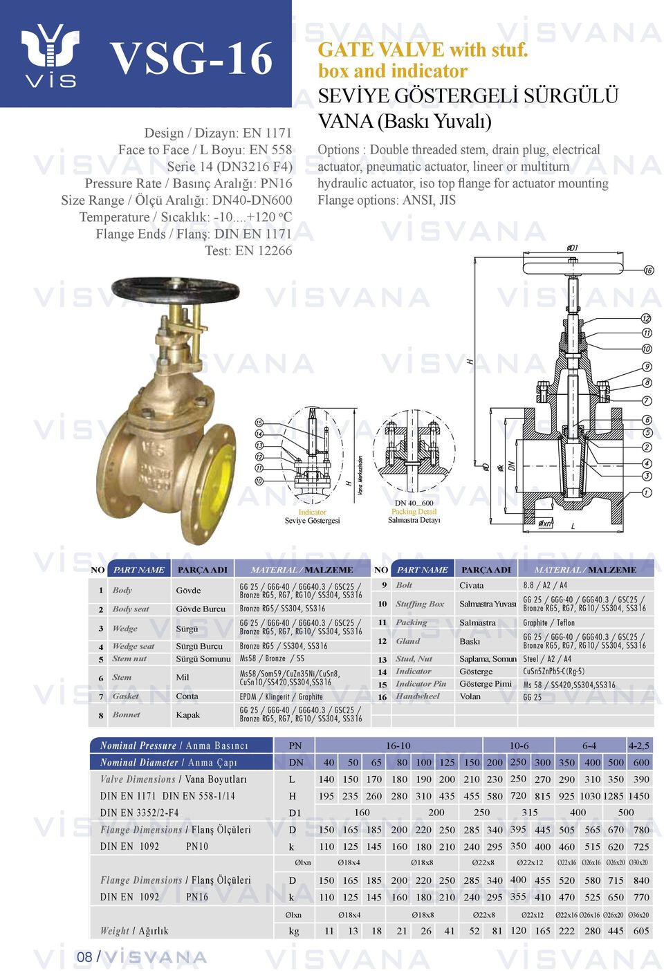 box and indicator SEVİYE GÖSTERGEİ SÜRGÜÜ VANA (Bası Yuvalı) Options : ouble threaded stem, drain plug, electrical actuator, pneumatic actuator, lineer or multiturn hydraulic actuator, iso top flange