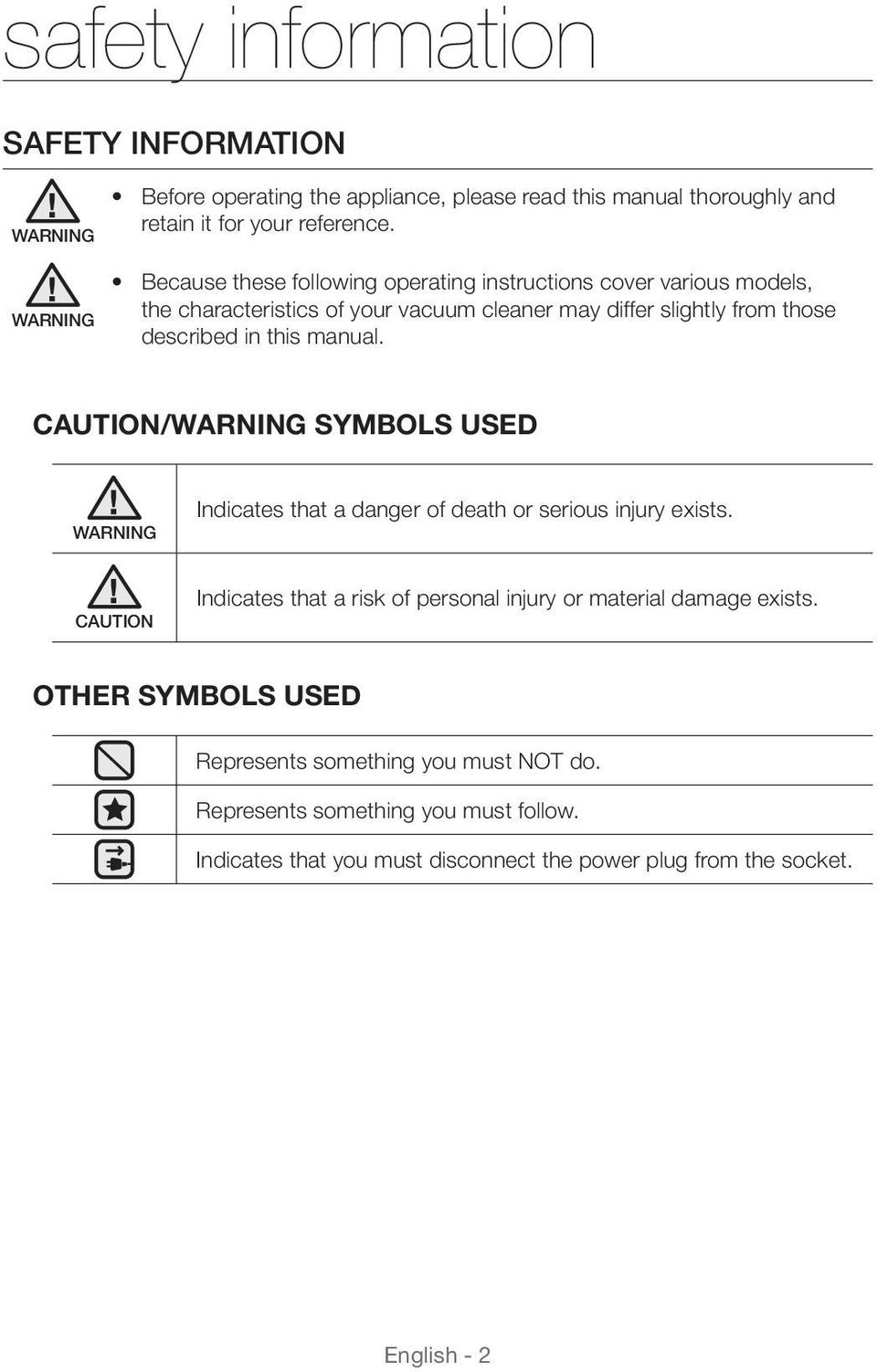 this manual. CAUTION/WARNING SYMBOLS USED WARNING Indicates that a danger of death or serious injury exists.