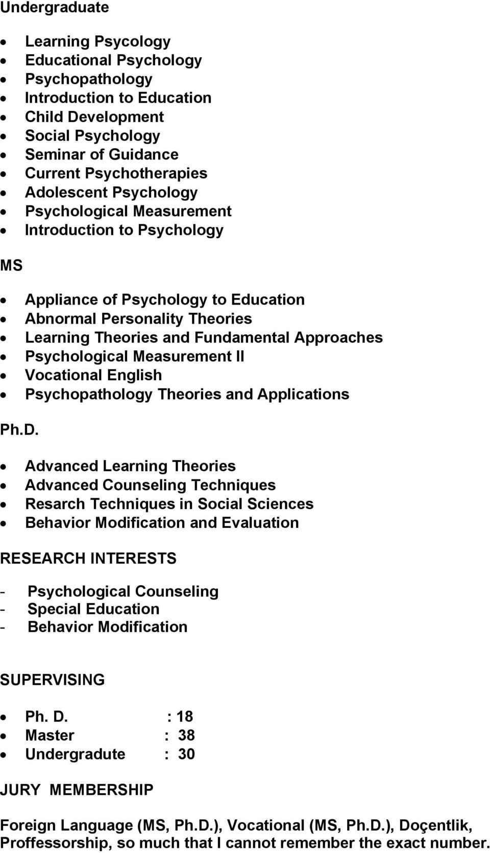 Vocational English Psychopathology Theories and Applications Ph.D.